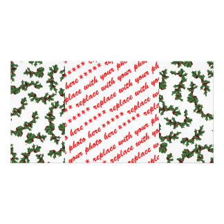 Christmas Holly Background Personalized Photo Card