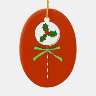 Christmas Holly Berries LolliPop Illustration Ceramic Oval Decoration
