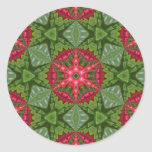 Christmas Holly Berry Kaleidoscopic Mandala 2 Round Sticker