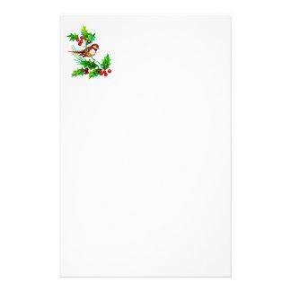 Christmas Holly & Bird II Stationery