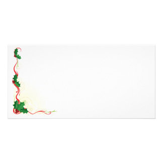Christmas Holly Border Photo Card Template
