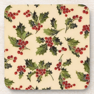 Christmas Holly Coasters