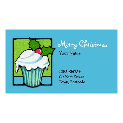 Christmas Holly Cupcake blue Business Card