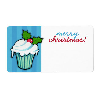 Christmas Holly Cupcake blue Christmas Sticker Shipping Label