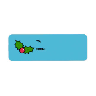Christmas Holly Cupcake blue Gift Tag Label Return Address Label