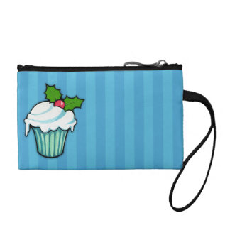 Christmas Holly Cupcake blue Key Coin Clutch Coin Wallets