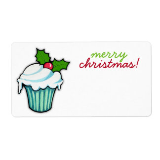 Christmas Holly Cupcake Christmas Sticker Shipping Label