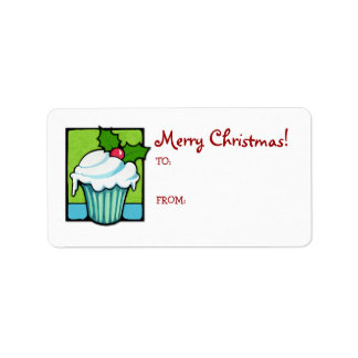 Christmas Holly Cupcake Gift Tag Label Address Label