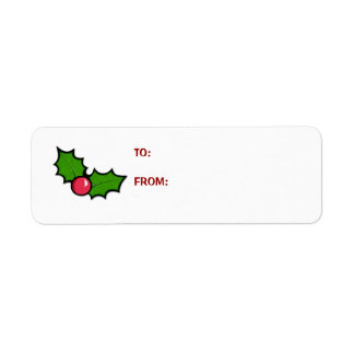 Christmas Holly Cupcake Gift Tag Label Return Address Label
