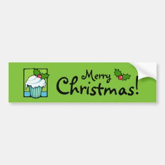 Christmas Holly Cupcake green Bumper Sticker Car Bumper Sticker