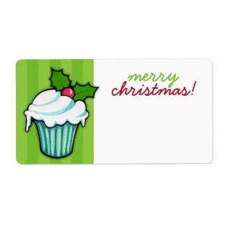 Christmas Holly Cupcake green Christmas Sticker Shipping Label
