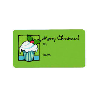 Christmas Holly Cupcake green Gift Tag Label Address Label