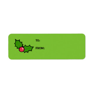 Christmas Holly Cupcake green Gift Tag Label Return Address Label