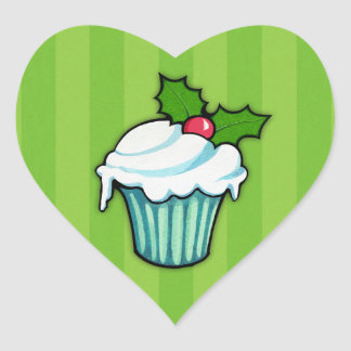 Christmas Holly Cupcake green Heart Sticker