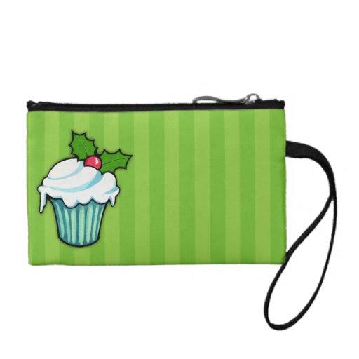 Christmas Holly Cupcake green Key Coin Clutch Coin Purses
