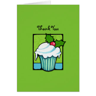 Christmas Holly Cupcake green Thank You Note Card