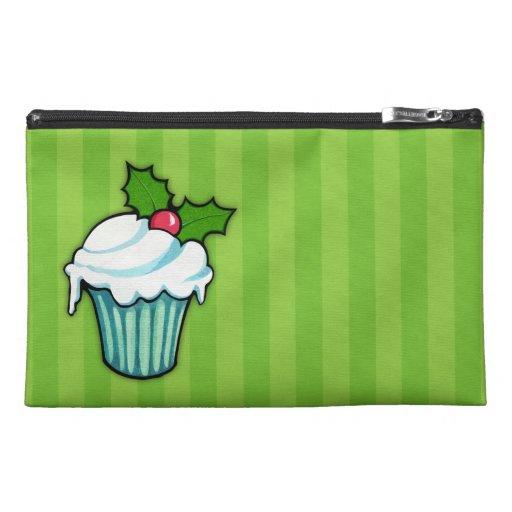 Christmas Holly Cupcake green Travel Accessory Bag