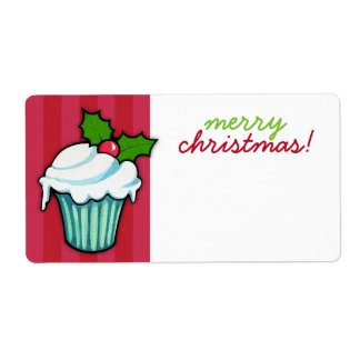 Christmas Holly Cupcake red Christmas Sticker Shipping Label