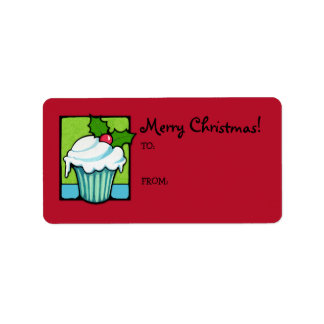 Christmas Holly Cupcake red Gift Tag Label Address Label