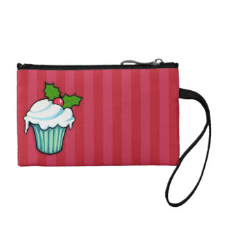 Christmas Holly Cupcake red Key Coin Clutch Change Purse