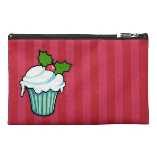 Christmas Holly Cupcake red Travel Accessory Bag
