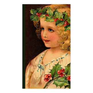 """Christmas Holly Girl "" Gift Tag Pack Of Standard Business Cards"