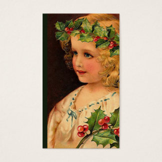 """Christmas Holly Girl "" Gift Tag Business Card"
