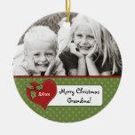 Christmas Holly Heart Grandma Photo Personalised Round Ceramic Decoration