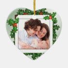 Christmas Holly Heart Shaped Family Photo Ornament