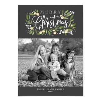 Christmas Holly-Holiday Photo Card 13 Cm X 18 Cm Invitation Card
