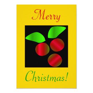 "Christmas Holly III 5"" X 7"" Invitation Card"