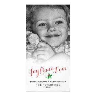 Christmas Holly Joy Peace Love Script Custom Photo Card