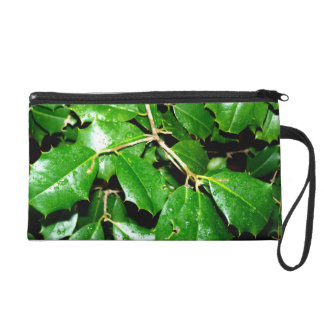 Christmas Holly Leaves Wristlet