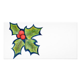 Christmas Holly Leaves, Red Berries Customised Photo Card