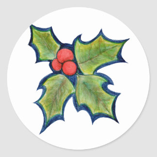 Christmas Holly Leaves, Red Berries Round Sticker