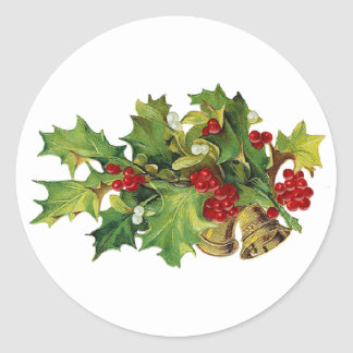 Christmas Holly, MIsteltoe and Brass Bells Classic Round Sticker