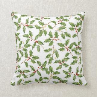 Christmas Holly MoJo Throw Pillow Cushion