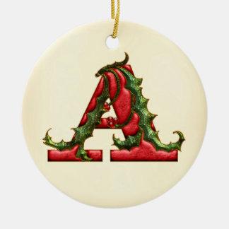 Christmas Holly Monogram A Round Ceramic Decoration