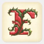 Christmas Holly Monogram F Envelope Seals Square Sticker