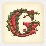 Christmas Holly Monogram G Envelope Seals Square Sticker
