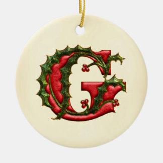 Christmas Holly Monogram G Round Ceramic Decoration