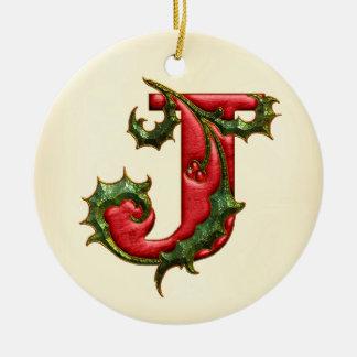 Christmas Holly Monogram J Round Ceramic Decoration