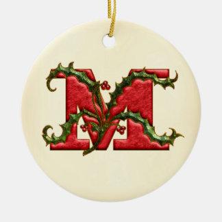 Christmas Holly Monogram M Ceramic Ornament