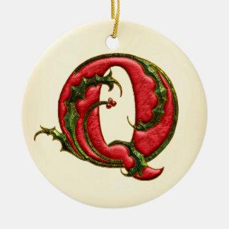 Christmas Holly Monogram Q Round Ceramic Decoration