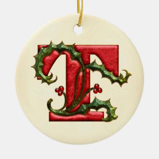Christmas Holly Monogram T Round Ceramic Decoration