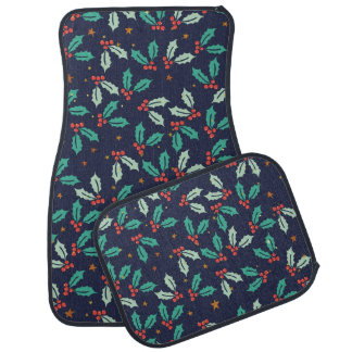 Christmas Holly Pattern Car Mat