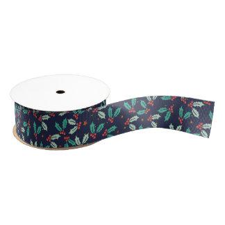 Christmas Holly Pattern Grosgrain Ribbon