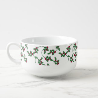 Christmas Holly pattern soup mug
