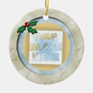 Christmas Holly Photo Frame: Ivory and Blue Round Ceramic Decoration