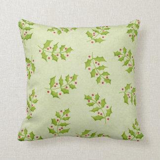 Christmas Holly Pillow Green Cushion 16 Inch